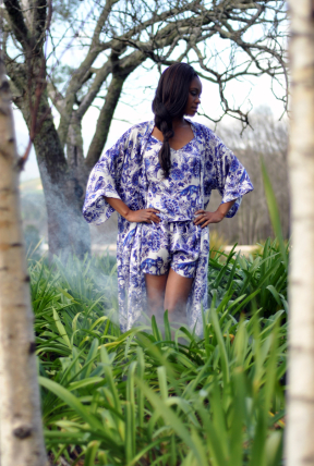Bo Delft Silk paired with Delft Kimono silk