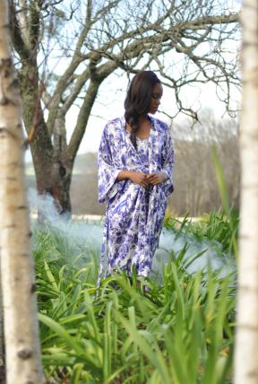 Kimono Delft Foxes Silk